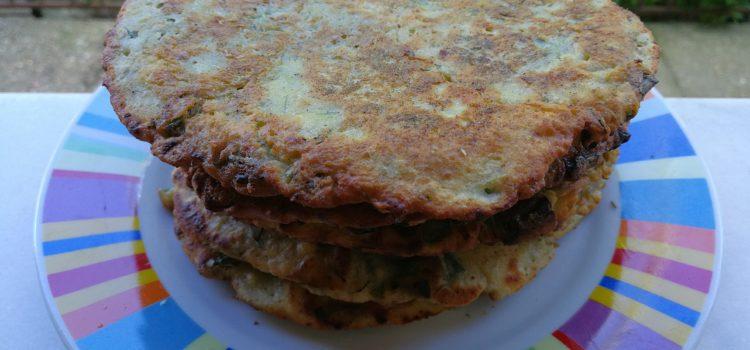 Clătite cu verdeaţă şi brânză de capră